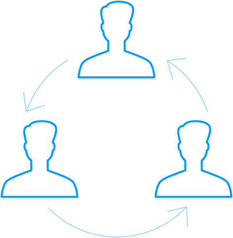 An icon depicting the peer review cycle